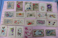 Collection of 24 old, very beautiful embroidered greeting cards, Belgium, circa 1920