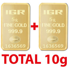 5+5=10g, 2 pieces of 5 g sealed 24 Ct Fine Gold Bars, *** NO RESERVE PRICE ***