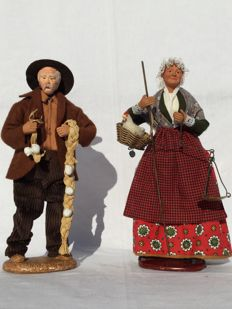 Two beautiful authentic Santons figurines - Nativity scene figurines - Carbonel & Guigon