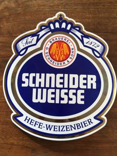 Convex curved Enamel advertising sign for Schneider weisse beer