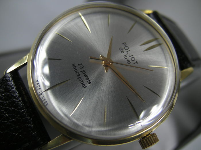 POLJOT De Lux - Made in CCCP - ultra slim vintage classic - 1970s - 23 JEWELS - 20 micron GOLD Plated