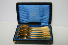 Christofle, 6 teaspoons in box - Chinon model (gold plated)