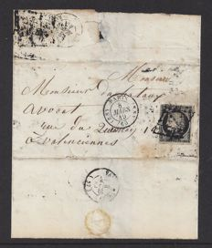 France 1849/1852 - Emission First Ceres,  20c. Inland Rate - Letter to Valenciennes.