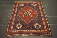 Collector's item, antique old handwoven oriental carpet Kazak Qashqai 116 x 150 cm, tapijt tappeto tapiz carpet old rug
