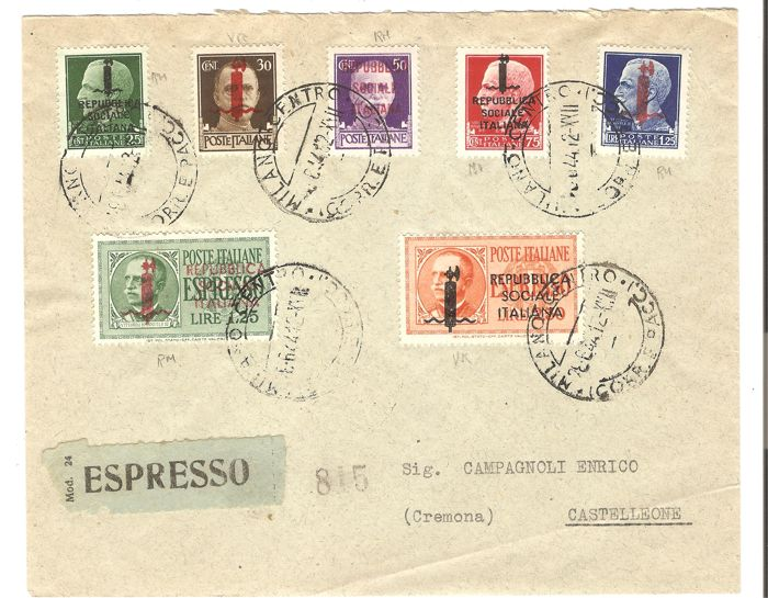 Italy 1944 - RSI, lot of 5 envelopes from that time period