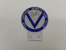 "Vintage badge - The Vintage Sports Car Club Auto Badge with Regarde St. Christophe Puis Va-T-En Rassure details impressed into badge 1970's - 1980's 4"" x 3"""