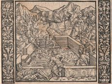 Niklaus Manuel I (Swiss 1484 - 1530)  Attributed: The healing Baths - Ca. 1525 / and two woodcuts by Christoffel van Sichem (1580-1658)