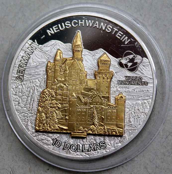 Cook Islands - 10 dollars 2006 'Germany - Neuschwanstein' gold-plated - 1 oz silver