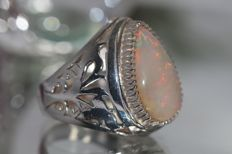925 Silver men's ring set with opal 8 ct - size 62.