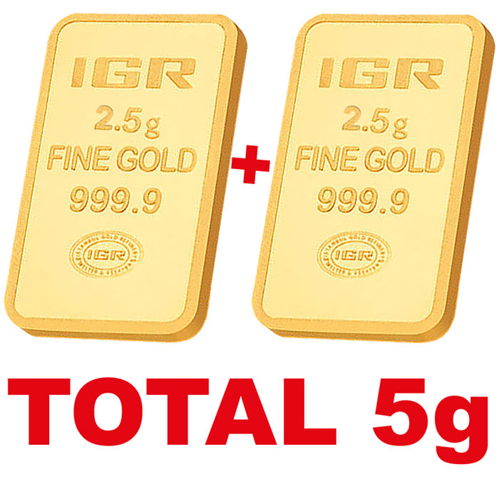 2.5+2.5 g, 2 pieces of 2.5g sealed 24 Ct Fine Gold Bars, ***LOW RESERVE PRICE***