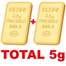 2.5+2.5 g, 2 pieces of 2.5g sealed 24 Ct Fine Gold Bars, *** NO RESERVE PRICE ***