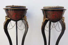 Napoleon style flower pots - wood and bronze details in Bouille technic -. France ca.1940