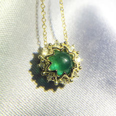 18K gold necklace with 0.564ct of emerald and 0.051ct of diamond - 40cm