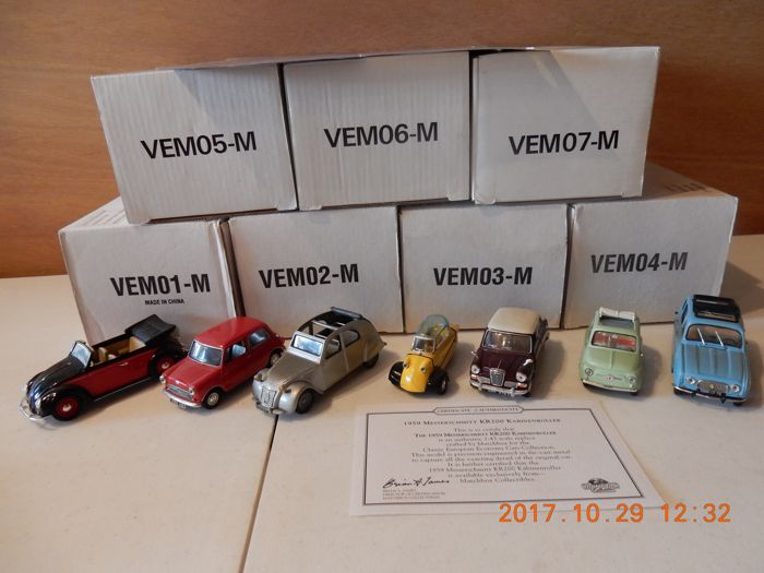 Dinky/ Matchbox - Scale 1/43 - Lot with 7 models: VEM 01 to VEM 07 - Dinky small classic European models