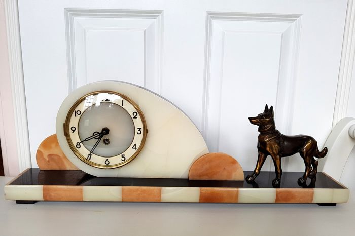 Marble mantel clock in art deco style with bronze dog, ca. 1950