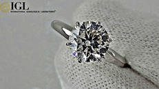 1.80 ct round diamond ring made of 14 kt white gold  - size 6