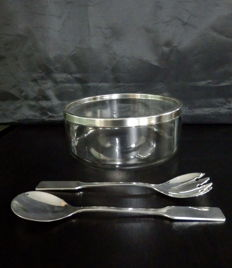 MK Silverplate and Glass Salad Bowl and Serving Set, ca. 1990's