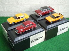 Whitebox - Scale 1/43 - Lot with 4 x Opel, Kapitan P2/6, Olympia Limousine, Kadett C Coupe, Rekord D Diesel