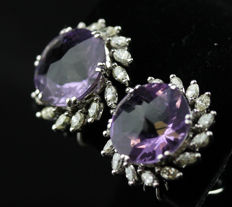 Ladies Earrings with Round mixed cut Amethyst total 12.85 ct and Marquise cut Diamonds total 1.71 ct - 18k White Gold - Size 19 mm