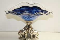 Beautiful crystal ornamental bowl on silver base with elephants - France - Meridiana silver marked - 20th century