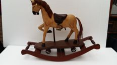 Detailed hand-painted wooden rocking horse - 20th century
