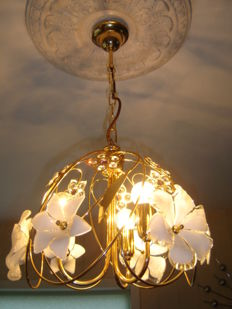 Gold plated Italian hanging lamp Franco Luco style. With glass Murano flowers and Swarovski crystals.