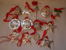 13 silver-plated and enamel pendant decorations