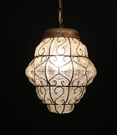 Large Venetian lamp - glass and metal - Italy - 1930s
