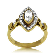 Old Rose-cut Marquise & round brilliant-cut Diamond Ring, 18k gold, as new. Size 52