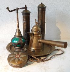 Decorative collection Mediterranean utensils -coffee grinders, coffee pot, rosewater bottle and bottle on a tray (6)