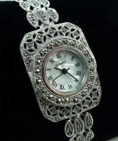 Solid 925 Sterling silver bracelet-wristwatch inlaid with Marcasite