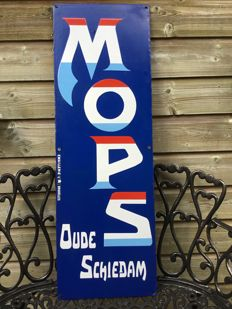 Large heavy enamel sign for 'Mops' gin from the old Schiedam, from the 1950s.