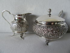 Antique Silver plated Cream set, Netherlands, 20th century