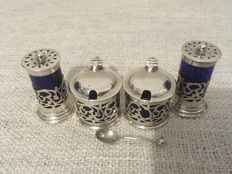 An Edwardian silver five-piece pierced design cruet set - William Hutton & Sons Ltd - Birmingham - 1904