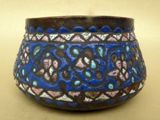 Antique bowl in enamel on copper - Syria, Damascus, 19th Century