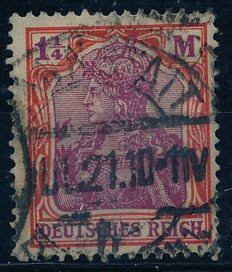 German Empire - 1921 - Germania 1 1/4 mark with quatrefoil watermark, Michel 151 Y verified Peschl BPP