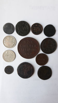 Russia - Lot of 12 silver and copper coins 1731-1932
