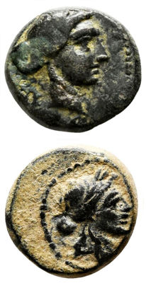 "Greek Antiquity - lot of 2 coins AE 1º Lydia, Sardes (Sardis)  ""Apollo & Club in Wreath"" (2nd-1st Century BC) / 2º Lydia, Sardes (Sardis) ""Apollo & Club in Wreath"" (2nd-1st Century BC)"