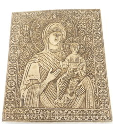 Orthodox Virgin Mary and Child - Byzantine Style, Earthenware Relief Hanging Plaque, ca. 1990's