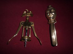 Unique brass corkscrew with Eagle, in combination with a unique brass Nutcracker, rare item!