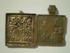 Lot of two antique brass metal travel icons 19th century