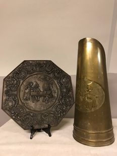 Copper Coal Kit Decorated with Dutch Scene & Large Copper Wall Plate