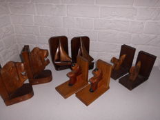 Beautiful collection of four sets of Art deco bookends, in special designs, including lion heads, very special item!