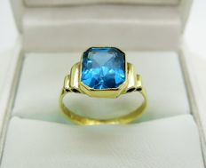 14K Gold Blue Topaz Dress Ring Size 50 1/4 (K 1/2) - Free Resizing