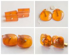 Two pair of Natural Baltic Amber vintage cuff links, natural cognac/honey colour Amber