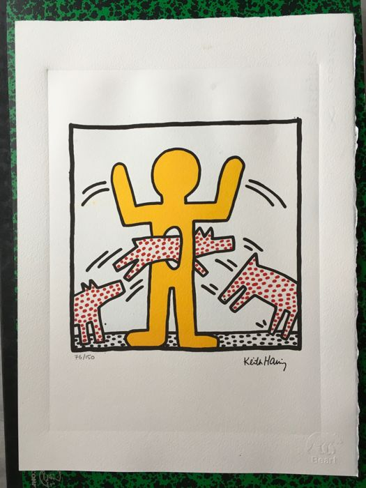 2 X Keith Haring ( 1958/1990) yellow figure 1982 and untitled 1982