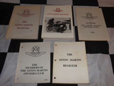 COLLECTION OF 5 ASTON MARTIN OWNERS CLUB UK MEMBERS REGISTER BOOKS AMOC 1974 - 1979 - 1984 - 1986 - 1988