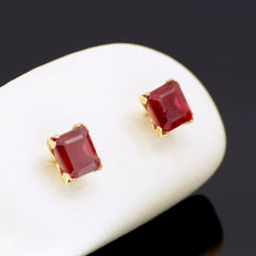 14k/575 yellow gold earrings with two transparents rubies - Two square-shaped rubies - Total stones weight 2.08 ct.