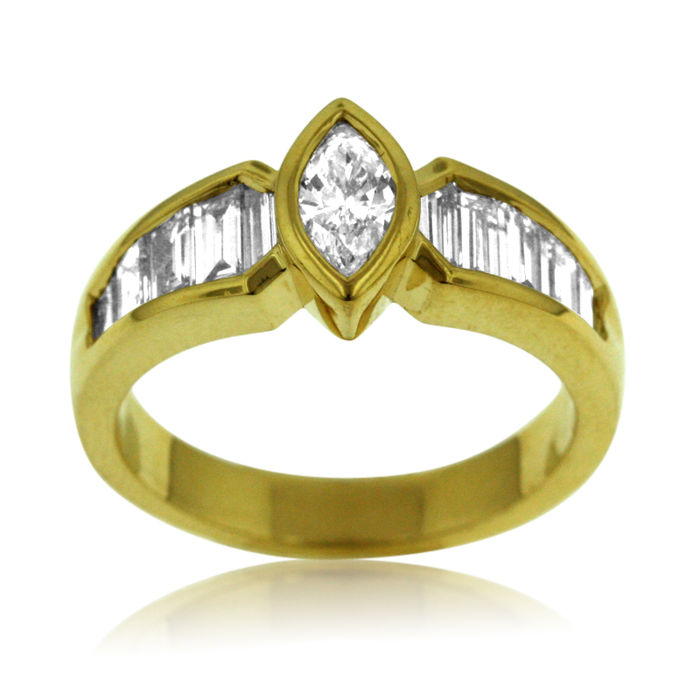 Marquise & Baguette-cut Diamond Ring, as new.