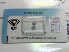 Natural diamond –  0.46 ct – D / SI1.